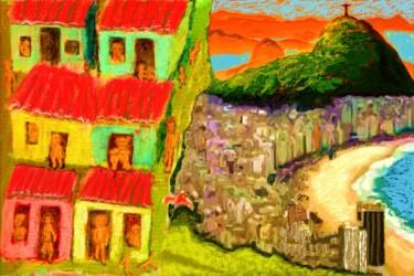 rio favela atop city collage